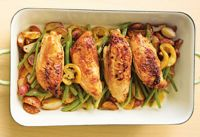 Roasted Citrus Chicken over Veggies Recipe.  One of many Healthy, Cheap & Easy meals in our FREE E-Cook Book!  Get it here...