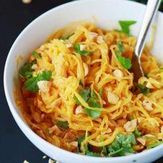 Spaghetti Squash Peanut Noodles   Vegan   Plant-based   WFPB   Gluten-free   Oil-Free   Recipe   http://www.eatwithinyourmeans.com/
