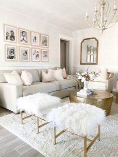 Glam Living Room, Living Room Decor Cozy, Rugs In Living Room, Home And Living, Living Room Designs, Living Room Neutral, Cream And White Living Room, Cream Living Rooms, Modern Farmhouse Living Room Decor