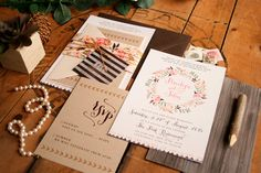♥ FOR THE HIPSTERS  Inspired by modern patterns and rustic textures like wood grain and kraft envelopes, this is the perfect wedding invitation