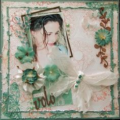 """This month Swirlydoos is featuring the beautiful Gabrielle collection from Bo Bunny in the April """"Bella Volo"""" kit. Vintage Scrapbook, Wedding Scrapbook, Scrapbook Paper Crafts, Scrapbook Pages, Creative Crafts, Diy Crafts, Friend Scrapbook, Scrapbook Patterns, Photo Layouts"""