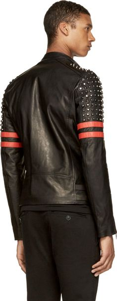 Diesel Black Gold Black & Red Leather Studded Likol Biker Jacket