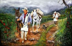 Coffee Artwork, Oil Canvas, Coffee Illustration, Coffee Design, America, Wallpaper, Painting, Animals, Bullock Cart