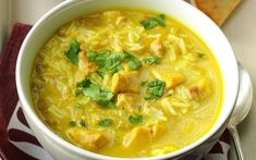 Coconut-Lime Chicken Curry Soup Recipe from Taste of Home (Slow Cooker Chicken Curry) Slow Cooker Soup, Slow Cooker Recipes, Soup Recipes, Chicken Recipes, Recipies, Chili Recipes, Emeril Lagasse Recipes, Chicken Curry Soup, Slow Cooker Chicken Thighs