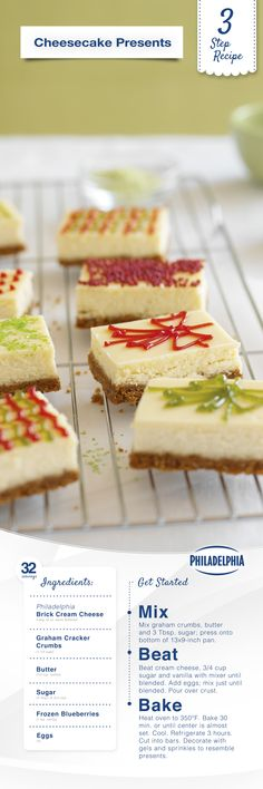 3-Step Recipe: Your holiday guests won't be able to wait to unwrap these tasty Holiday Cheesecake Presents.