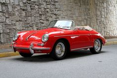 1960 #Porsche 356 #Roadster looking so pretty in red.