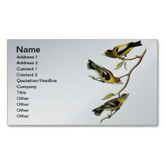 Evening Grosbeak - Song Bird Business Cards printed on a silver colored background.  Other colors available.