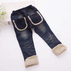 Kz-5370 2015 winter Koreanische version des neuen weiblichen kinderkleidung baby tasche geld plus dicke samt jeans, Lange Jeans