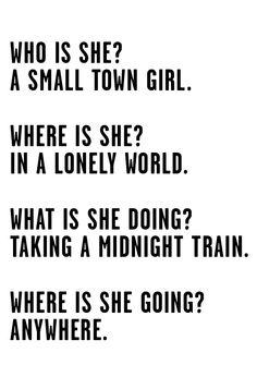 Journey Small Town Girl Lyrics