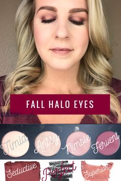 "Fall halo eyes Younique pressed Shadow palette: Timid, Antsy, Nimble, & Fervent ""seductive"" pressed Blusher ""Perfect"" precision pencil liner ""Superior"" metallic Splash liquid lipstick #fall #makeup #makeuplovers #makeuptutorials #eyeshadow #metallic #haloeyes"