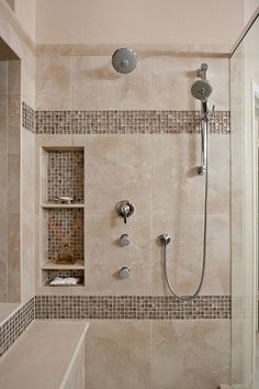 shower niche ideas Bathroom Contemporary with bench in shower chorme