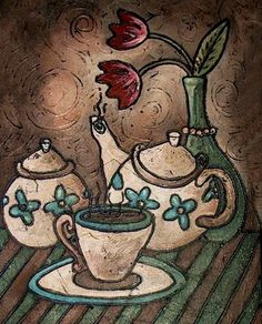Turquoise Tea Set   #tea #art #painting