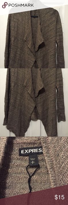 Express open cardigan Express open cardigan- light brown with metallic threads-juniors large but fits women's medium Express Sweaters Cardigans