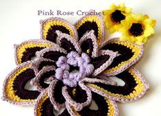 \ PINK ROSE CROCHET /: Flor com Miolo em Ponto Rococó