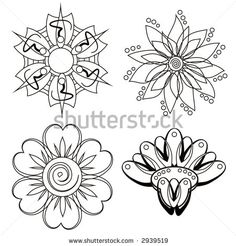 Four flower doodle designs for blending and layering.