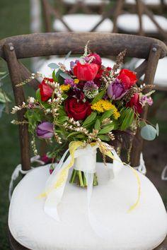 Red + purple bridal #bouquet   Photography: Lori Yohe, The Purple Tree - thepurpletree.com  Read More: http://www.stylemepretty.com/california-weddings/2014/05/03/kentucky-derby-wedding-inspiration/