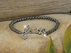 """Gunmetal/Crystal """"faith"""" Beaded Bracelet"""