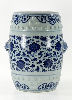 "18th/19th century Chinese blue and white porcelain stool, 17 1/2"" h."