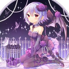 Cuttest Succubus - Other Wallpaper ID 1969356 - Desktop Nexus Anime Girls With Flowers, Flowers In Hair, Butterfly Cage, Purple Backgrounds, Desktop Backgrounds, Wallpapers, Manga Pictures, Purple Roses, Hair Ornaments