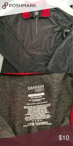 Workout top Charcoal with red collar. Has long sleeves, never worn. This shirt is fitted. Danskin Now Tops Sweatshirts & Hoodies
