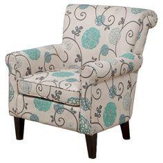 Roseville Club Chair Blue Flowers - Christopher Knight Home,