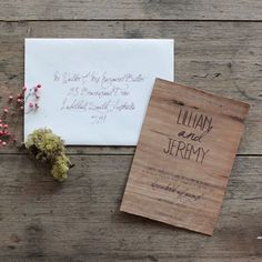 This stunning wedding invitation is printed onto real timber.