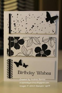 handmade birthday card ... black and white ... three panels ... two with different printed papers .. one with the sentiment ... small punched butterflies ... Stampin'Up!