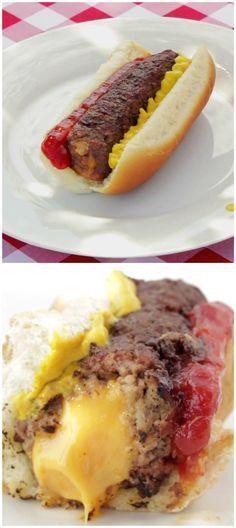 Cheese-Stuffed Burger Dog I Love Food, Good Food, Yummy Food, Healthy Food, Grilling Recipes, Cooking Recipes, Beste Burger, Burger Dogs, Homemade Burgers