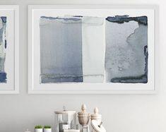 Große abstrakte Wandkunst, grau dunkelblau Malerei, abstrakte Kunst 24 x 36, Giclée-Druck-abstrakt, grau Wandkunst, abstrakte Malerei, große Drucke