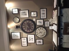 Love the mix of clocks and clock photos - genious collage wall!