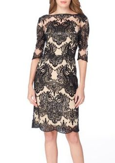 Tahari ASL BlackNude Three-Quarter Sleeve Sequin Sheath Dress