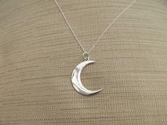 Media Luna Luna collar en cadena plata joyas de por LindenEraStudio