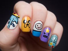 Chalkboard Nails: What time is it? - Adventure Time Nail Art    Bumpy nail art is not okay with me but this is nice and smooth so it's pretty awesome!