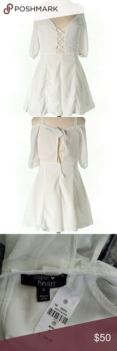 NWT LF Paper Heart White Romper Beautiful white Romper perfect for any occasion!   #NWT #lf #paperheart #white #spring #summer #fall #winter #anytime #goeswitheverything #neutral #beautiful #comfortable #flowy #airy #loose #soft #silky #party #dancing #clubbing #rave #office #work #workattire #professional #classy #sophisticated #cute #flirty #nightout #datenight #cutoutback #cutout  M5 LF Dresses