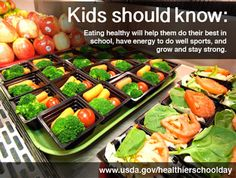 Thanks to the Healthy, Hunger Free Kids Act, major improvements are being made across the country to transform school food to promote better nutrition and reduce obesity. Healthy Food Options, Easy Healthy Dinners, Get Healthy, Healthy Eating, Healthy Kids, Healthy Schools, Healthy Nutrition, Healthy Choices, Healthy Snacks