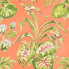 Thibaut Waterlily - Bayou - Wallpaper - Coral