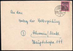 Inlandsbrief im Fernverkehr bis 20 g vom 29. Oktober 1945 aus Torgelow (OPD Schwerin - sowjetische Besatzungszone) nach Schwerin (OPD Schwerin - sowjetische Besatzungszone). Der Brief wurde portorichtig in Einzelfrankatur mit 12 Reichspfennig (Mi.-Nr. 16 - Ausgabe vom 28. August 1945) frankiert und mit dem Kreisstegstempel mit Gitterbogen oben und unten ohne Datumswerk TORGELOW /   * * * abgeschlagen.