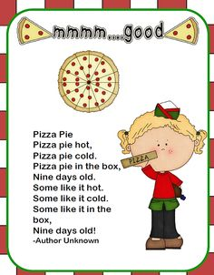 I have finally finished my new Pizza Unit! You can check it out at my Teacher's Notebook Store or at my Teachers P. Preschool Poems, Preschool Music, Preschool Class, Kindergarten Activities, Preschool Projects, Classroom Activities, Toddler Activities, Classroom Ideas, Pizza