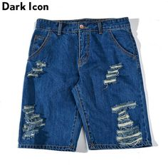 Ripped Denim Shorts Men 2017 Summer Straight Front Button Casual Men's Shorts Knee Length Shorts 2 Colors #Affiliate