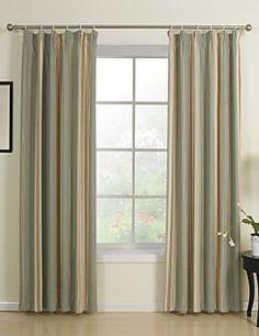 (Two Panels Double Pleated Top) Blue Stripe Jacqaurd Energy Saving Curtain