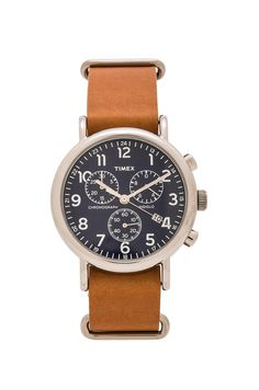 Timex The Weekend 40mm Chrono in Tan & Blue   REVOLVE