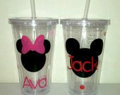Personalized Mickey Mouse Inspired Tumbler, Minnie Mouse Tumbler- Great Party Favor