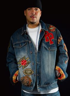 French Montana in the Pelle Pelle Patch Denim Jacket