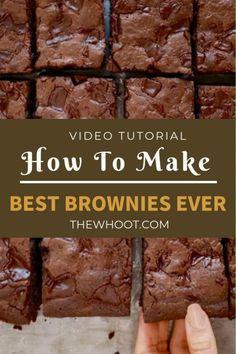 Gemma's Best-Ever Brownie Recipe (w/ Video) - Bigger Bolder Baking - Best Brownies Ever Recipe {Video Tutorial} Chewy Brownies, Healthy Brownies, Brownie Desserts, Homemade Brownies, Brownie Bar, Brownie Recipes, Chocolate Recipes, Cookie Recipes, Dessert Recipes
