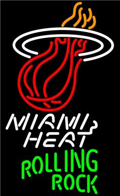 Rolling Rock Miami Heat NBA Neon Beer Sign, Rolling Rock with NBA Neon Signs | Beer with Sports Signs. Makes a great gift. High impact, eye catching, real glass tube neon sign. In stock. Ships in 5 days or less. Brand New Indoor Neon Sign. Neon Tube thickness is 9MM. All Neon Signs have 1 year warranty and 0% breakage guarantee.