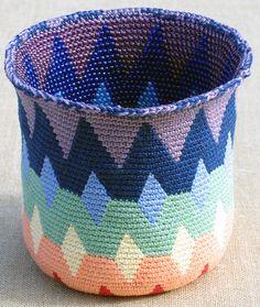 Ravelry: Spectral Reversible Bead Tapestry Crochet Basket pattern by Carol Ventura Ravelry Crochet, Crochet Motifs, Crochet Chart, Crochet Patterns, Crochet Ideas, Crochet Bowl, Crochet Basket Pattern, Bead Crochet, Crochet Baskets