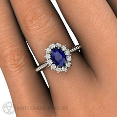 Blue Sapphire Engagement Ring Sapphire Ring Oval by RareEarth
