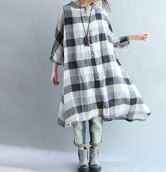 Linen Oversize asymmetric dress Loose Fitting Blouse by MaLieb