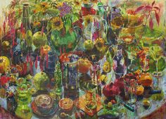 "Carol Stewart, ""All My Stuff"". oil on paper on board. 2008. 25"" x 50"""