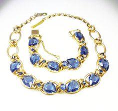 Vintage Necklace Bracelet Sapphire Blue by zephyrvintage on Etsy, $145.00 #vintagejewelryset #vintagenecklace #vintagebracelet